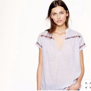 J Crew Striped Tunic with Embroidery